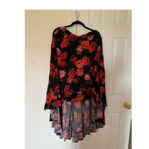 Hi-low flowered skirt